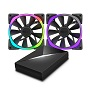 NZXT 140mm Aer RGB PWM Fan (Max 1500RPM) 2 Pack With HUE+ Lighting Controller